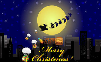 Christmas City Night with Flying Sleigh - Free vector #164757