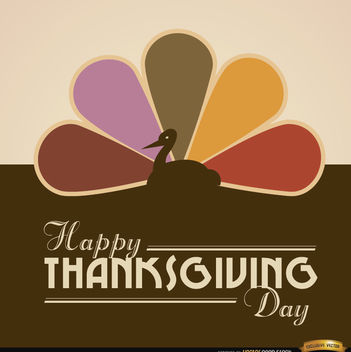 Happy Thanksgiving turkey colored tail background - Free vector #164777