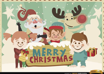 Merry Christmas cartoon characters background - Free vector #164857