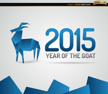 2015 blue origami goat year background - vector gratuit #164887