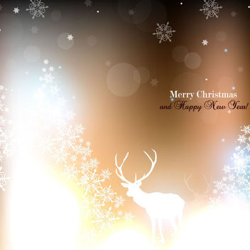 Shiny Christmas Background with Snowflake & Reindeer - vector gratuit #164897