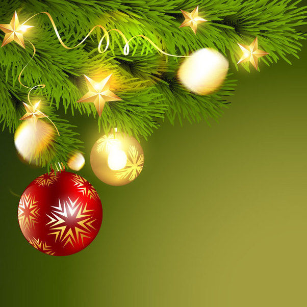 Green Christmas Background with Balls & Branch - Free vector #164937