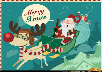 Santa Reindeer sledge Xmas background - бесплатный vector #164957