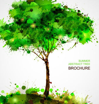 Creative Grungy Abstract Splashed Tree - Free vector #165037