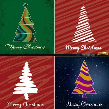 4 Abstract Christmas tree backgrounds - vector gratuit #165087
