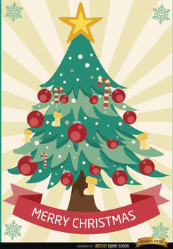 Merry Christmas tree radial stripes - Free vector #165107