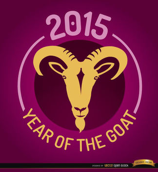 2015 Year of Goat round emblem - vector gratuit #165127