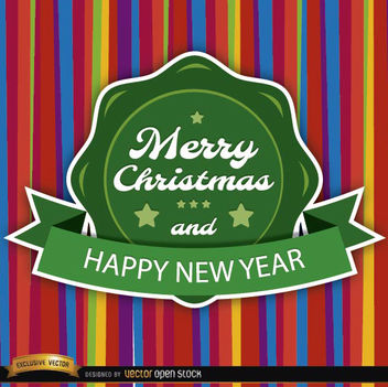 Christmas colorful card round label - vector gratuit #165187