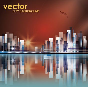 Abstract High Rise City in the Sunset - vector gratuit #165227