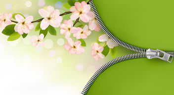 Green & Pink Floral Tree Branch Zipper Background - Free vector #165267