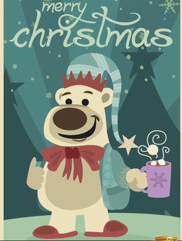 Christmas bear with hot chocolate - Free vector #165277