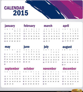 2015 artistic brushstrokes calendar - Free vector #165357