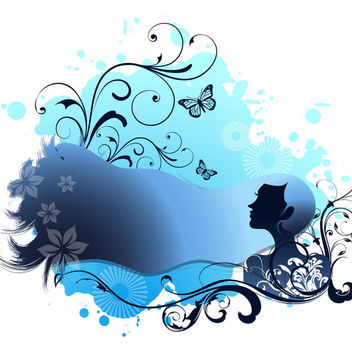 Spa Themed Blue Girl with Swirling Floral - vector gratuit #165457