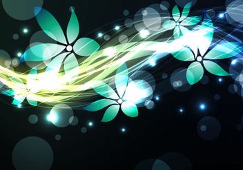 Shiny Glowing Blue Floristic Background - vector gratuit(e) #165537