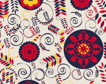 Floristic Retro Background with Swirls & Arcs - Free vector #165577