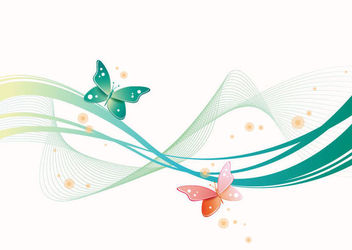 Green Waves & Spiral Lines with Butterflies - Free vector #165647