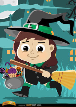 Halloween cartoon girl witch costume - Kostenloses vector #165657