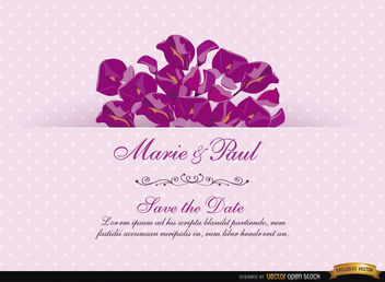 Pink Invitation Card with Acacia - Free vector #165817