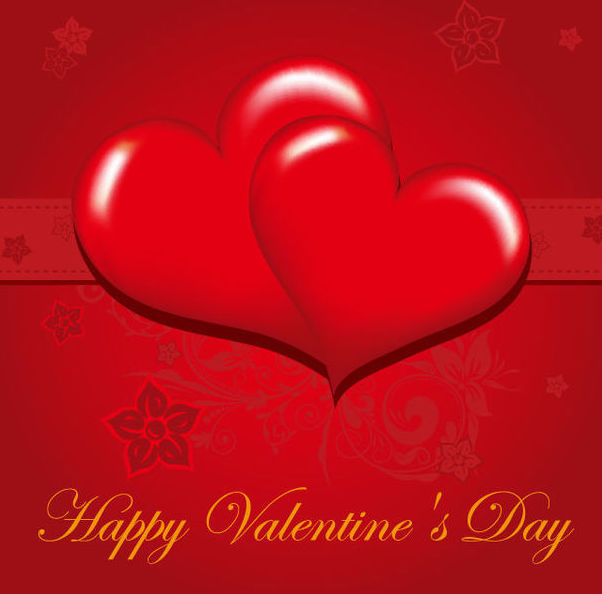 Glossy Red Valentine Greeting Card - vector gratuit(e) #165857