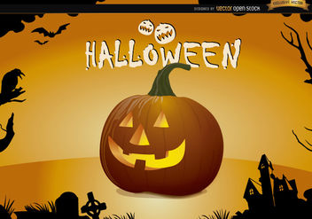 Halloween creepy pumpkin wallpaper - Free vector #165987