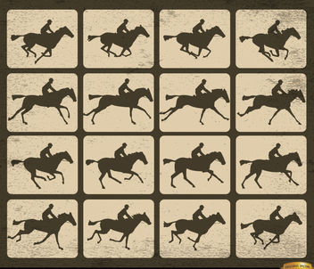 Horse racing silhouette motion frames - vector #166107 gratis