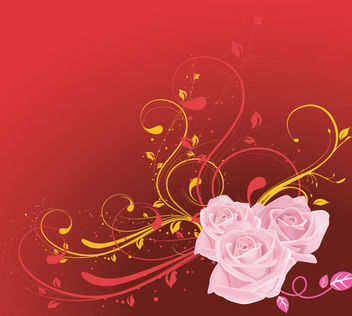 Pink Rose with Red & Yellow Swirls Background - vector gratuit #166137