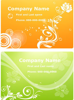 Orange & Green Floristic Business Cards - vector #166167 gratis