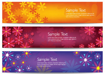 Bright Floristic Header Banner Set - Free vector #166237