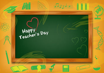 Funky Teachers Day Background with Chalkboard - Free vector #166257