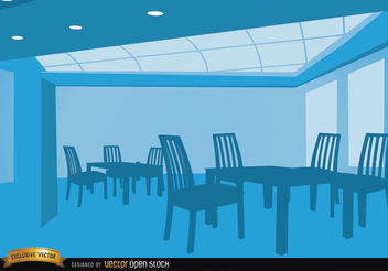 Empty lounge with tables and chairs - vector gratuit #166447