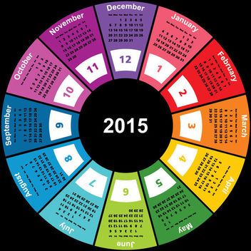 2015 Colorful Geometric Circular Calendar - Free vector #166457