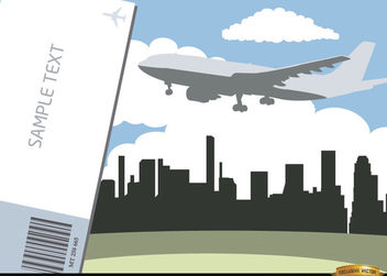 Airplane flying city skyline and ticket - Free vector #166547