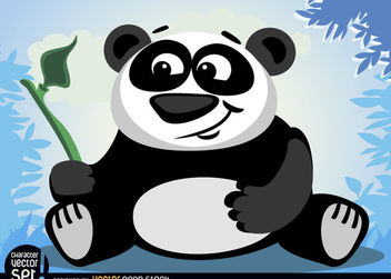 Panda bear animal with bamboo branch - бесплатный vector #166577
