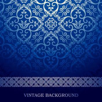 Blue Vintage European Floral Pattern - Free vector #166607