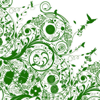 Green Silhouette Swirling Nature Background - Free vector #166617