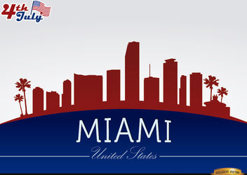 Miami skyline on July 4th commemoration - Free vector #166757