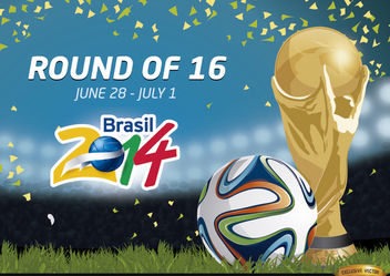 Round of 16 Brazil 2014 Promo - Free vector #166777