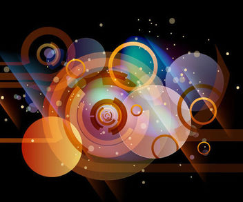 Abstract Dark Background with Colorful Circles - vector gratuit #166997