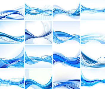 Stylish Blue Abstract Background Set with Lines - Free vector #167027
