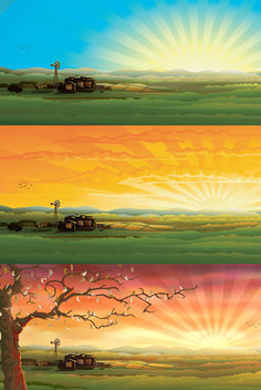 Beautiful 3 Countryside Sceneries - vector gratuit #167367