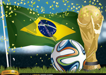 Brasil 2014 Football, Flag and Trophy - Free vector #167477