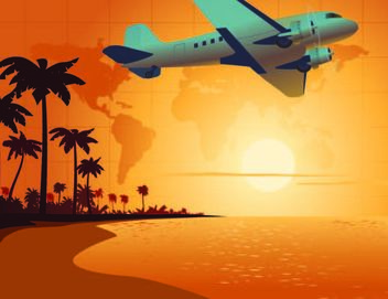 Travel Scene with Airplane & Beach Sunset - Free vector #167487