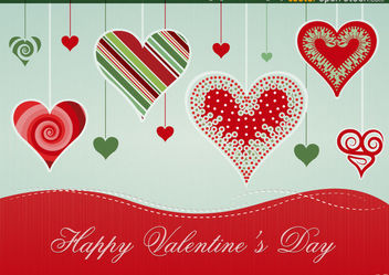 Hanging Hearts Design - Free vector #167687