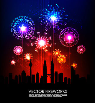 Colorful Firework Explosion with Silhouette City - vector gratuit #167837