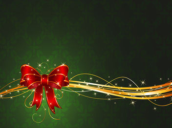 Christmas Ribbon with Stars & Swirls - Free vector #167947