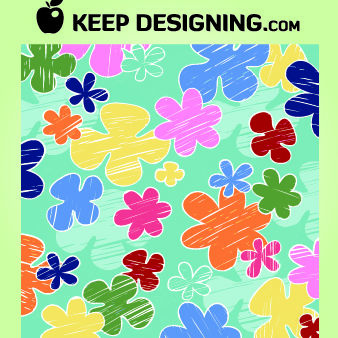 Kids Crayon Flower Pattern Wallpaper - vector gratuit #167987