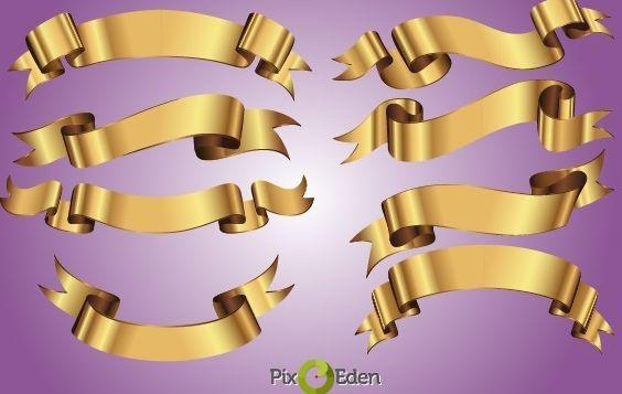 Decorative Golden Ribbon Pack - vector #168027 gratis