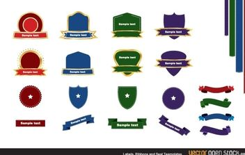 Labels ribbons and seal templates - vector gratuit #168057