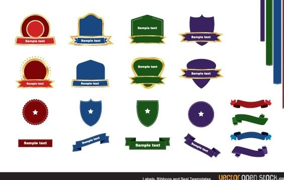 Labels ribbons and seal templates - vector #168057 gratis