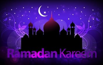 Purple Greeting Layout for Holy Ramadan - бесплатный vector #168117